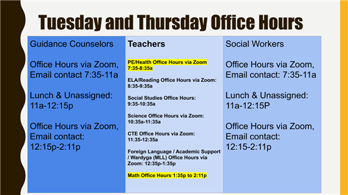 Tuesday and Thursday Office Hours
