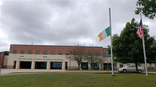 The flag of Ireland in front of Davies.