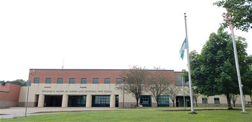 The Nigerian flag outside of Davies HS.