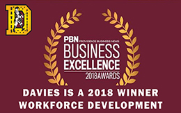 Davies Wins PBN's Business Excellence Award for Workforce Development