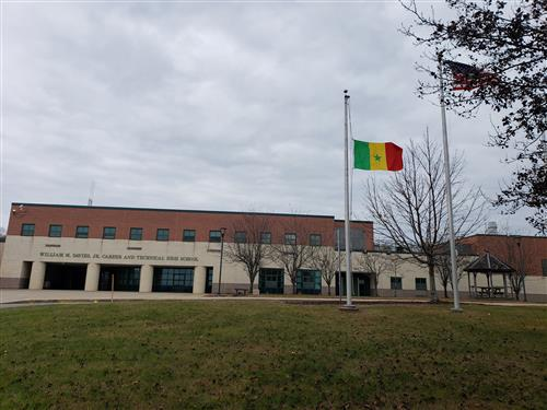 The flag of Senegal in front of Davies.