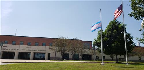 Trans Pride Flag in front of Davies High School