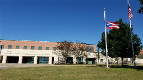 The Commonwealth of Puerto Rico flag outside of Davies.